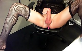 Blonde Shemale with Big Cock Cums Hard